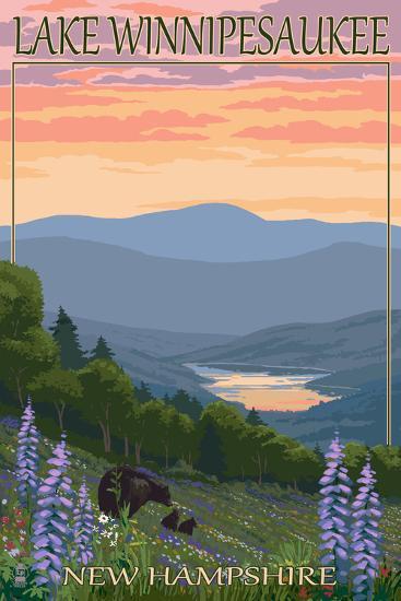 Lake Winnipesaukee, New Hampshire - Bears and Spring Flowers-Lantern Press-Art Print