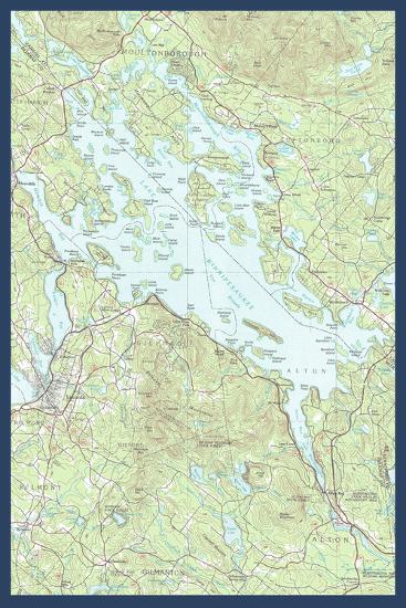 Lake Winnipesaukee, New Hampshire - Map Only-Lantern Press-Art Print