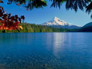 Lake with mountain in the background, Mt Hood, Lost Lake, Mt Hood National Forest, Hood River Co...