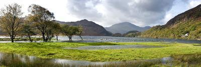 Lake with Mountains in the Background, Llyn Dinas, Snowdonia National Park, Wales--Photographic Print