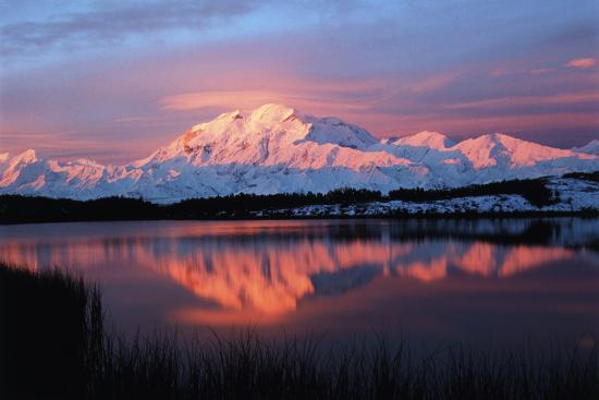 Lake with Mt McKinley, Denali National Park and Preserve, Alaska, USA-Hugh Rose-Photographic Print