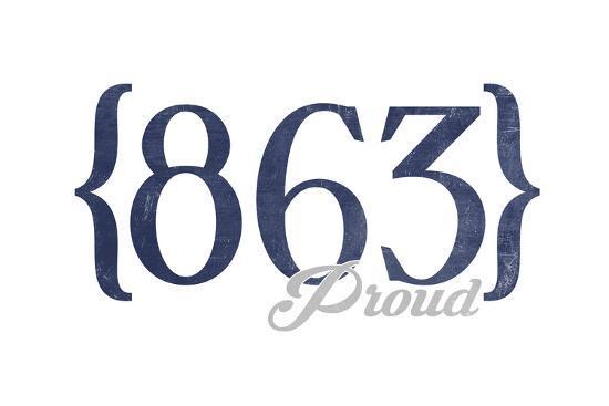Lakeland, Florida - 863 Area Code (Blue)-Lantern Press-Art Print