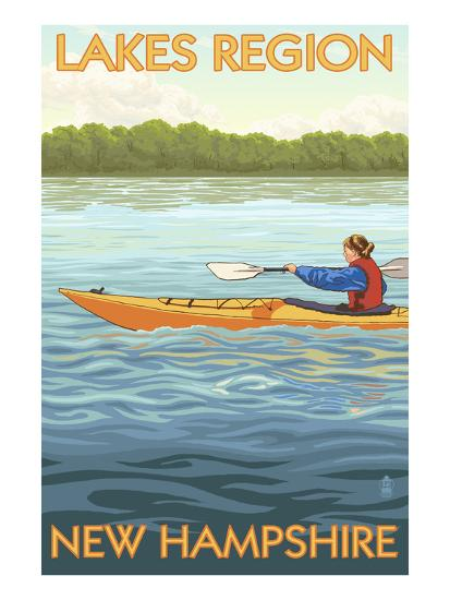 Lakes Region, New Hampshire - Kayak Scene-Lantern Press-Art Print