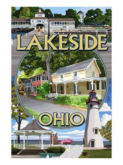 Lakeside, Ohio - Montage Scenes-Lantern Press-Art Print