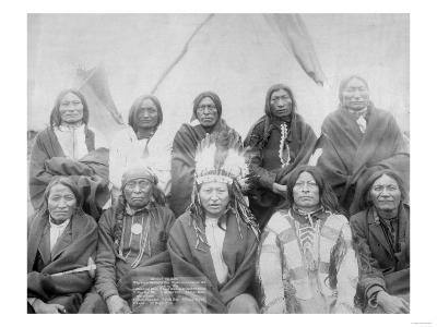 Lakota Indian Chiefs who Met General Miles to End Indian War Photograph - Pine Ridge, SD-Lantern Press-Art Print