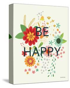Groovy Florals II Be Happy on Cream by Lamai McCartan