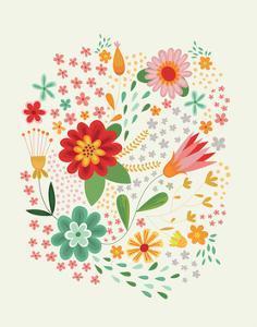 Groovy Florals III on Cream by Lamai McCartan