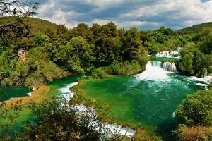 Panorama of Waterfalls in Krka National Park, Croatia by Lamarinx