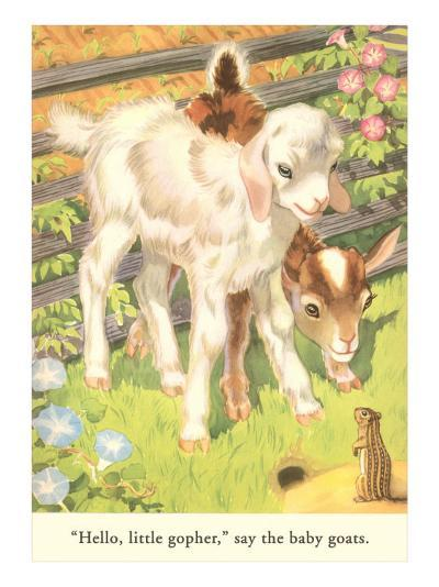 Lambs and Gopher--Art Print