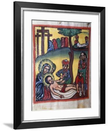 Lamentation over Dead Christ, from Illuminated Coptic Manuscript Page, Ethiopia--Framed Giclee Print