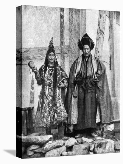 Lamist Priests of Sikkim Wearing Robes, Talung Monastery, India, 1922-John Claude White-Stretched Canvas Print
