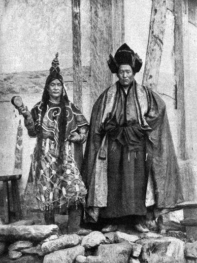 Lamist Priests of Sikkim Wearing Robes, Talung Monastery, India, 1922-John Claude White-Giclee Print