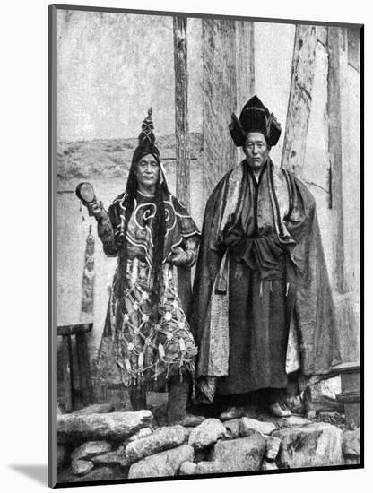 Lamist Priests of Sikkim Wearing Robes, Talung Monastery, India, 1922-John Claude White-Mounted Giclee Print
