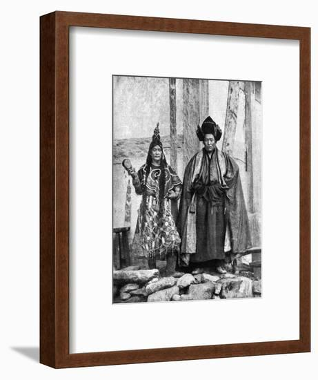 Lamist Priests of Sikkim Wearing Robes, Talung Monastery, India, 1922-John Claude White-Framed Giclee Print