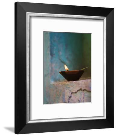 Lamp in a Little Shrine Outside Traditional House, Varanasi, India-Keren Su-Framed Photographic Print