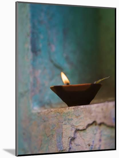 Lamp in a Little Shrine Outside Traditional House, Varanasi, India-Keren Su-Mounted Photographic Print