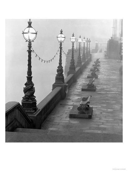 Lamp Posts and Benches by the River Thames-John Gay-Giclee Print