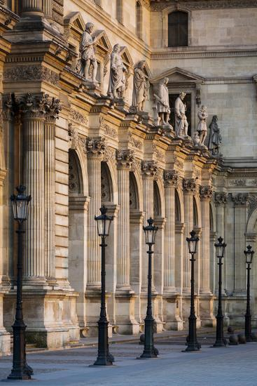 Lampposts Against the Architecture of Musee Du Louvre, Paris, France-Brian Jannsen-Photographic Print