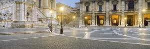 Lampposts Lit Up at a Town Square, Piazza Del Campidoglio, Rome, Lazio, Italy