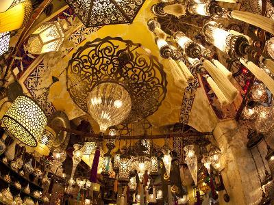 Lamps and Lanterns in Shop in the Grand Bazaar, Istanbul, Turkey-Jon Arnold-Photographic Print