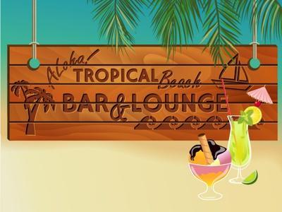 Tropical Beach Bar Wood Board Signpost, With Sandy Beach And Palm Tree Leaves In The Background