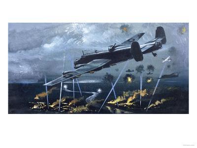 Lancaster Bomber over Germany--Giclee Print
