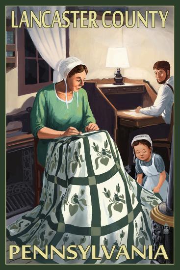 Lancaster County, Pennsylvania - Amish Quilting Scene-Lantern Press-Art Print