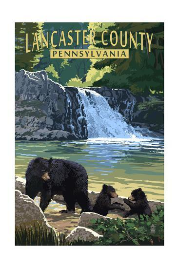 Lancaster County, Pennsylvania - Black Bears and Waterfall-Lantern Press-Art Print