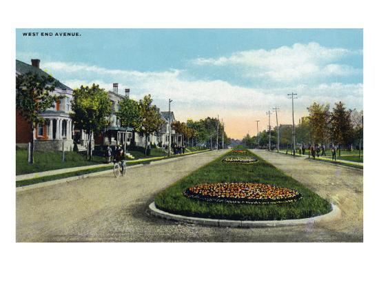 Lancaster, Pennsylvania - Scenic View Down West End Avenue, c.1918-Lantern Press-Art Print
