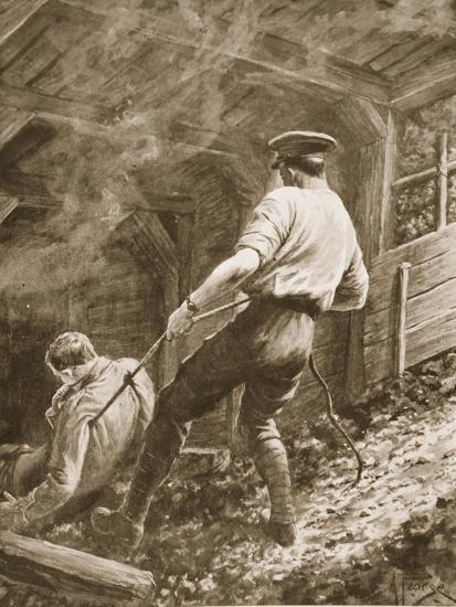 Lance-Corporal Clapson Dragging an Officer, Who Had Been Gassed, Out of a Mine (Litho)-Alfred Pearse-Giclee Print