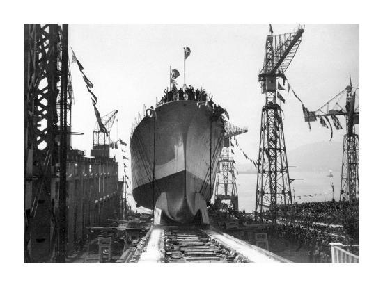 "Lancement du Navire croiseur ""Zara"",1930-Charles Delius-Giclee Print"