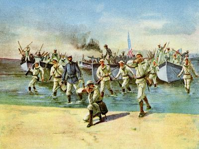 Landing Ammunition for the Insurgents, under Fire, Spanish-American War, Cuba, 1898--Giclee Print