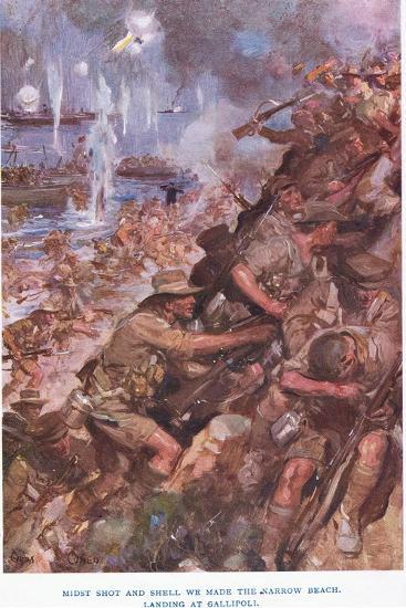 Landing at Gallipoli. Midst Shot and Shell We Made the Narrow Beach-Cyrus Cuneo-Giclee Print