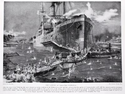 Landing at Gallipoli Peninsula, from Hutchinson's Story of the British Nation, c.1920-Charles Edward Dixon-Giclee Print