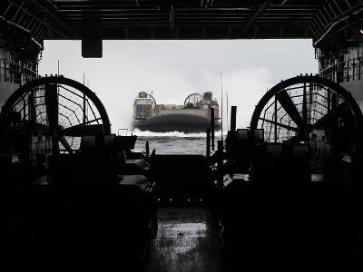 Landing Craft Air Cushion Approaches the Well Deck of USS San Antonio-Stocktrek Images-Photographic Print