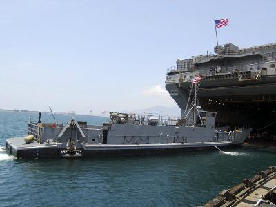 Landing Craft Utility Near Amphibious Assault Ship USS Essex in Subic Bay, Philippines--Photographic Print