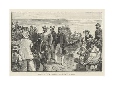 Landing of Dinizulu, the Exiled Zulu Prince, at St Helena--Giclee Print