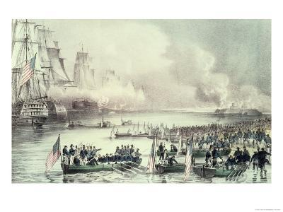 Landing of the American Force at Vera Cruz, Under General Scott, March, 1847-Currier & Ives-Giclee Print