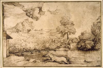 Landscape: a Riderless Horse Pursued by a Serpent-Titian (Tiziano Vecelli)-Giclee Print