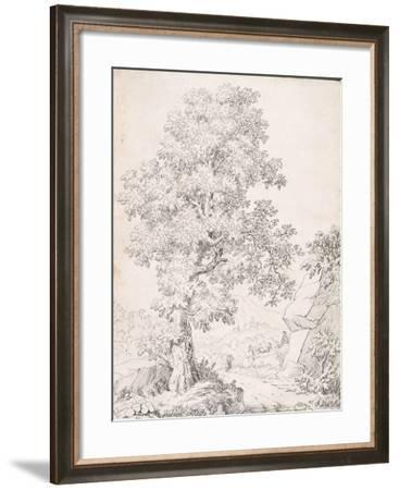 Landscape, a Shepherd and His Goats Walking by a Tree-I. Inghivami-Framed Giclee Print
