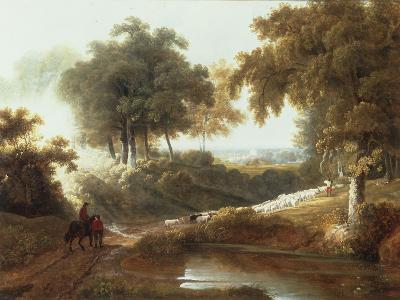 Landscape at Sunset with Drovers and Sheep on a Path-George Arnald-Giclee Print