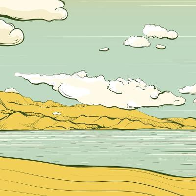 Landscape Background with Clouds and Mountains. Savage Scenery Vector Illustration Eps8.-Popmarleo-Art Print