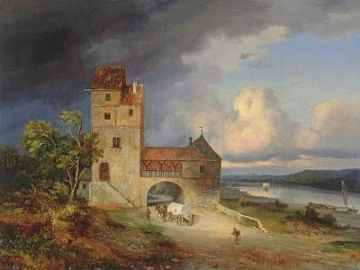 Landscape by the River with the Tower and Gateway, 1844--Giclee Print
