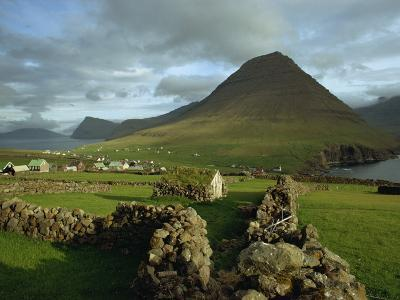 Landscape Containing Dry Stone Walls and a Small Settlement, Faroe Islands, Denmark, Europe-Woolfitt Adam-Photographic Print