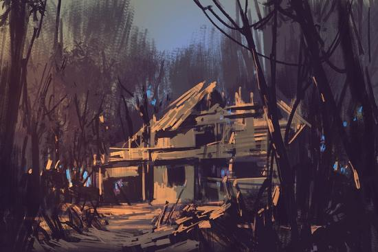 Landscape Digital Painting of Ruined House in the Forest-Tithi Luadthong-Art Print