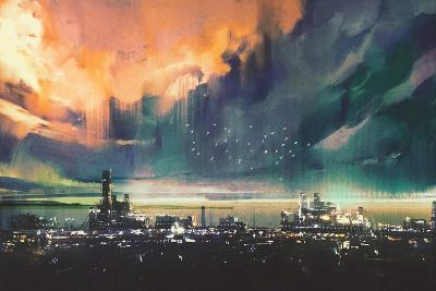 Landscape Digital Painting of Sci-Fi City,Illustration-Tithi Luadthong-Art Print