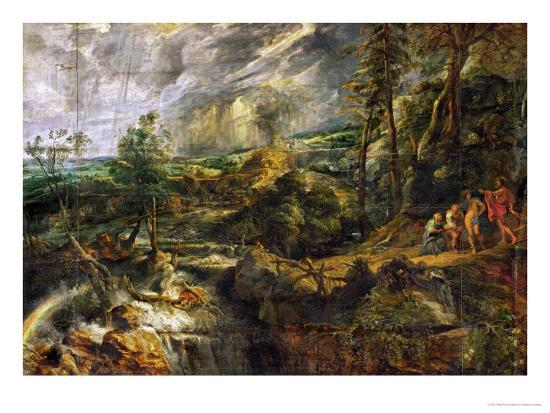 Landscape in a Thunderstorm, Philemon and Baucis, Jupiter and Mercury, circa 1620-Peter Paul Rubens-Giclee Print