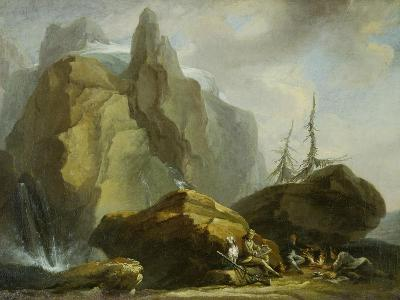 Landscape in the High Alps with Resting Mountaineers and the Painter-Caspar Wolf-Giclee Print