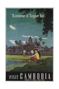 Landscape of Angkor Wat, Visit Cambodia 1950s Travel Poster