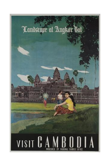 Landscape of Angkor Wat, Visit Cambodia 1950s Travel Poster--Giclee Print